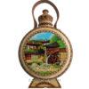 Дървена бъклица с пирография-1л пейзаж