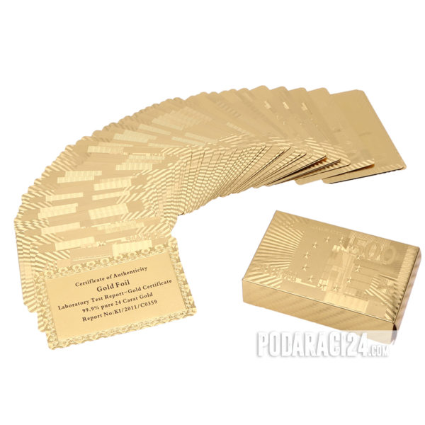 Златни карти за игра 24к – 500€ - Карти за полер - луксозни карти за покер - Подаръци за офис - Подарък за мъже - Подарък за нов дом