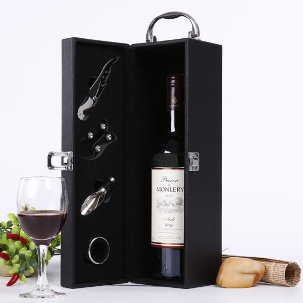 Луксозна кожена кутия за вино с аксесоари | Подаръци за мъже