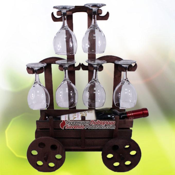 Декоративна каруца с вино и 6 чаши | Подаръци за мъж