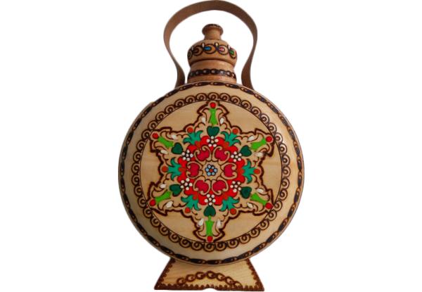 Дървена бъклица с пирография-0.7л   български сувенири за чужденци, традиционни български сувенири и подаръци онлайн