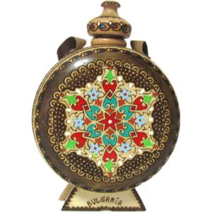 Дървена бъклица с пирография-0.2л   български сувенири за чужденци, традиционни български сувенири и подаръци онлайн