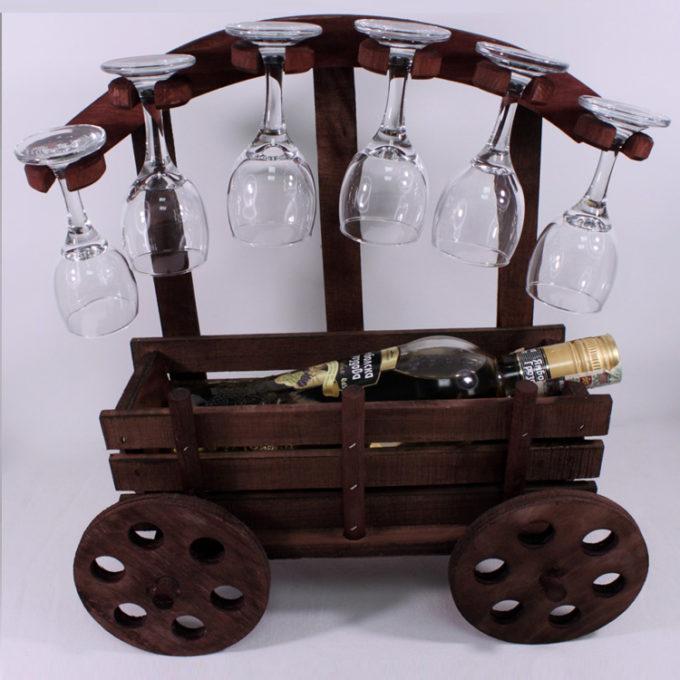 Декоративна каруца с ракия и 6 чаши | Подаръци за мъж