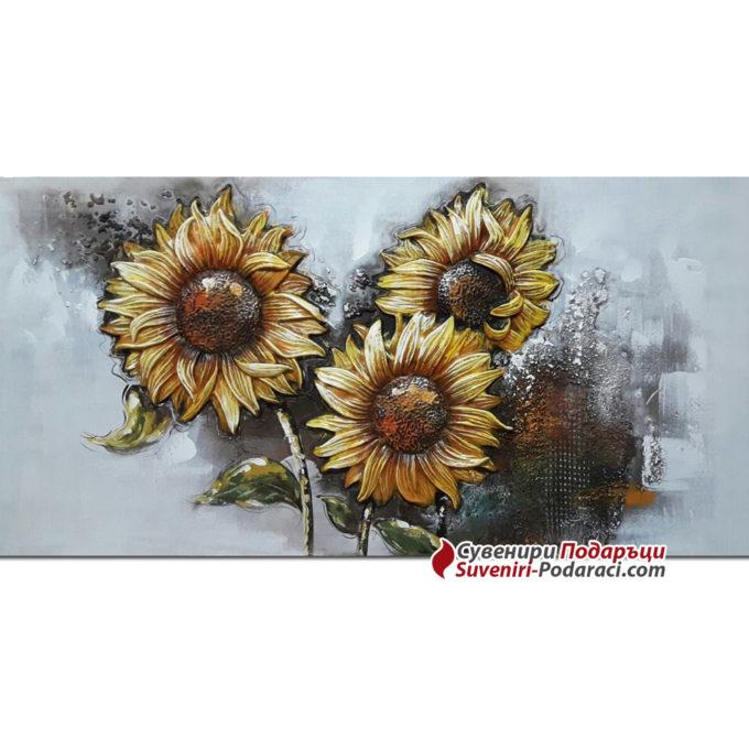 Картина 3Д Слънчогледи, подарък за жена