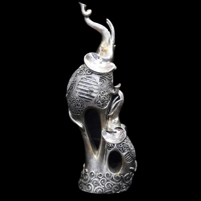 Красива статуетка от полирезин на женски слон и малко слонче, Подарък фигура Слон за късмет