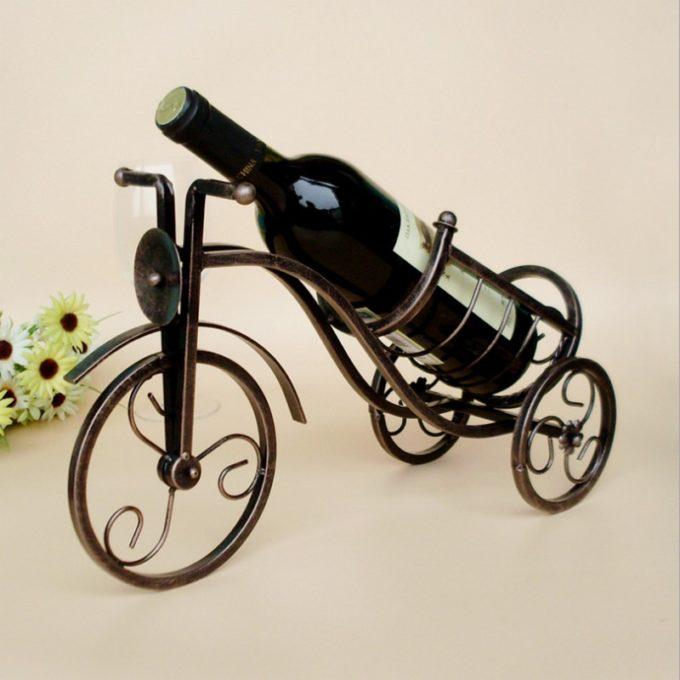 Метална поставка за бутилка вино - Ретро колело