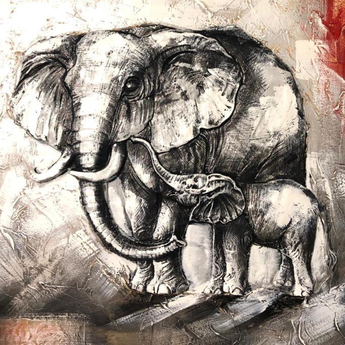 Картина Сребърни слонове - релеф, 100x100см | Подарък за Късмет