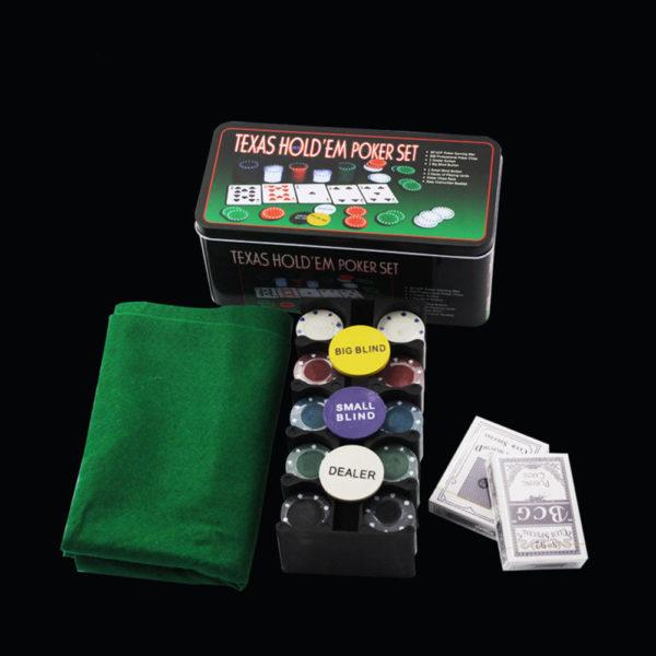 Покер комплект с 200 чипа, 2 тестета карти и покривка