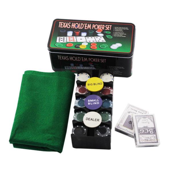 Покер комплект с 200 професионални чипа, 2 тестета карти и покривка